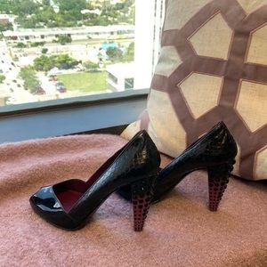 Miu Miu patent leather snake print heels